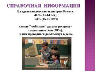 Ежедневная детская аудитория Рунета: 46% (13-14 лет), 54% (15-16 лет); самые
