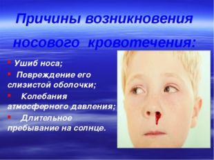 Ушиб носа; Повреждение его слизистой оболочки; Колебания атмосферного давлен