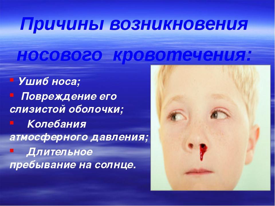 Ушиб носа; Повреждение его слизистой оболочки; Колебания атмосферного давлен...