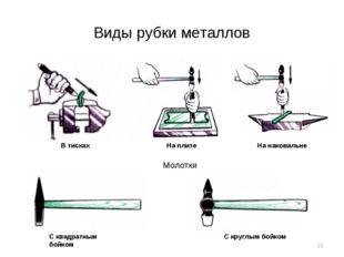 Виды рубки металлов В тисках На плите На наковальне Молотки С квадратным бойк