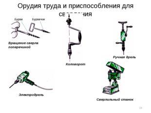 Орудия труда и приспособления для сверления Вращение сверла поперечиной Бурав