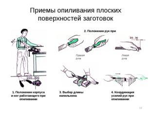 Приемы опиливания плоских поверхностей заготовок 1. Положение корпуса и ног р
