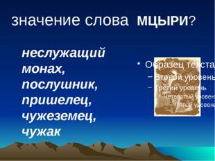 значение слова МЦЫРИ? неслужащий монах, послушник, пришелец, чужеземец, чужак