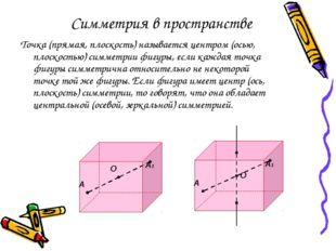 Симметрия в пространстве Точка (прямая, плоскость) называется центром (осью,