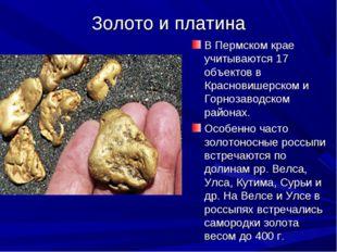 Золото и платина В Пермском крае учитываются 17 объектов в Красновишерском и