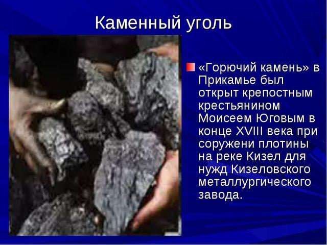 Каменный уголь «Горючий камень» в Прикамье был открыт крепостным крестьянином...