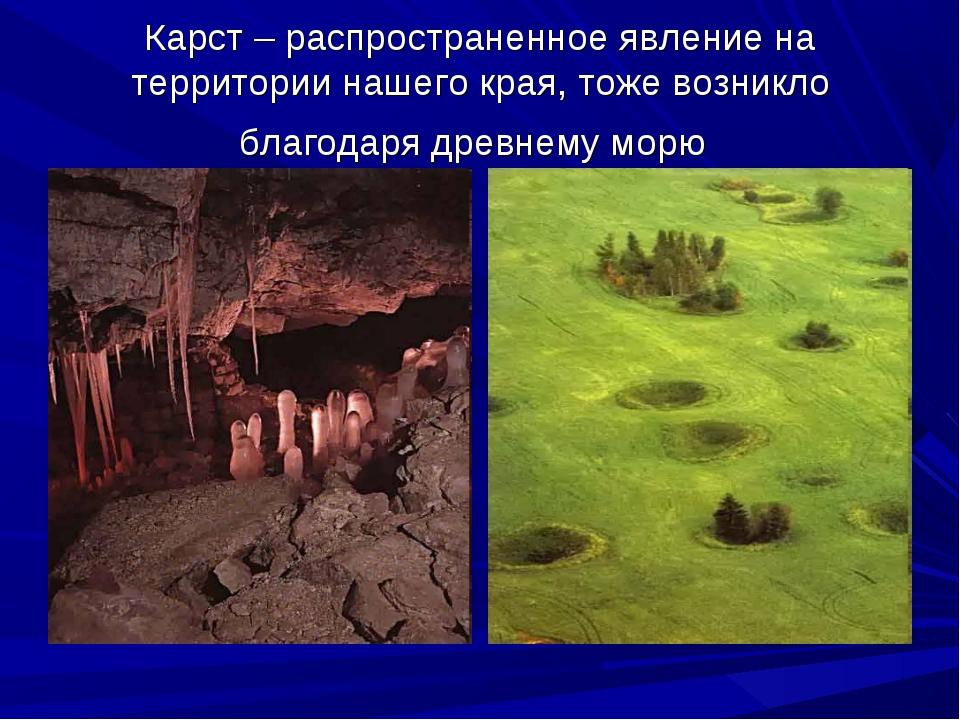 Карст – распространенное явление на территории нашего края, тоже возникло бла...