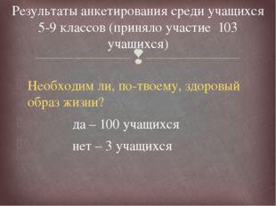 Результаты анкетирования среди учащихся 5-9 классов (приняло участие  103 уча