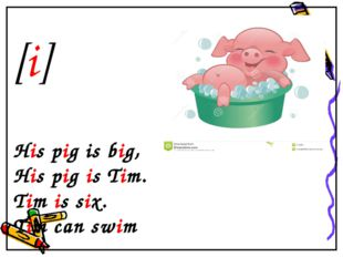 [i] His pig is big, His pig is Tim. Tim is six. Tim can swim
