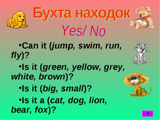 Can it (jump, swim, run, fly)? Is it (green, yellow, grey, white, brown)? Is...