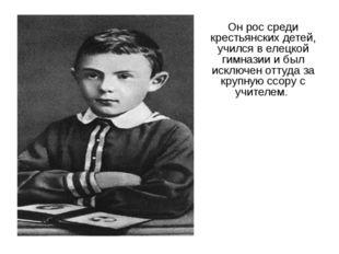 Он рос среди крестьянских детей, учился в елецкой гимназии и был исключен отт
