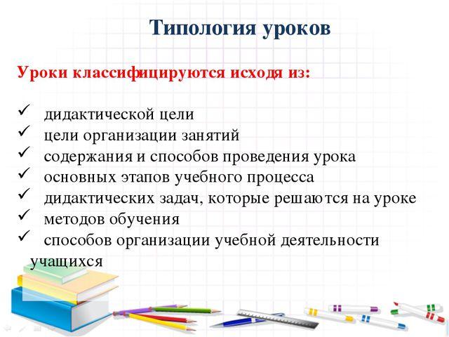 Типология уроков Уроки классифицируются исходя из: дидактической цели цели о...