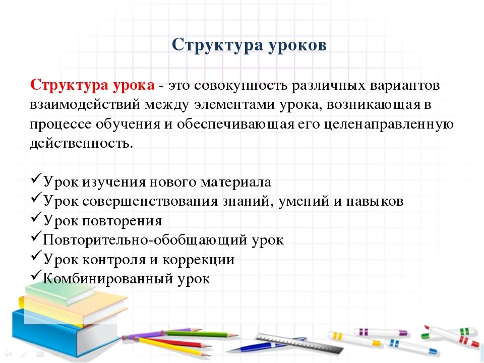Структура уроков  Структура урока - это совокупность различных вариантов вз...