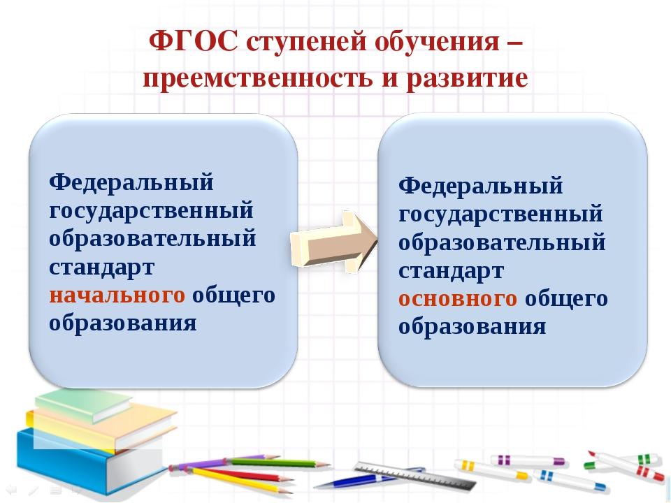 ФГОС ступеней обучения – преемственность и развитие Федеральный государственн...