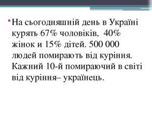 На сьогодняшній день в Україні курять 67% чоловіків, 40% жінок и 15% дітей. 5