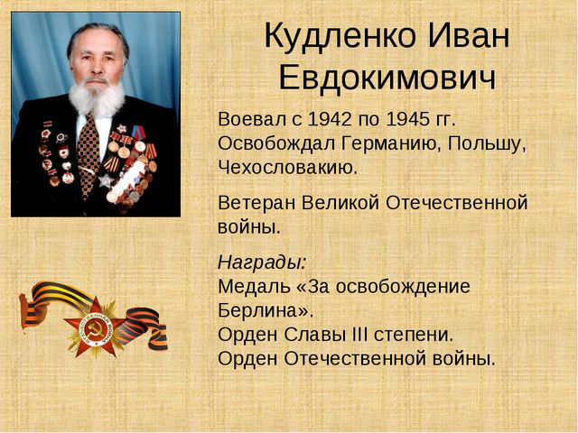 Кудленко Иван Евдокимович Воевал с 1942 по 1945 гг. Освобождал Германию, Поль...