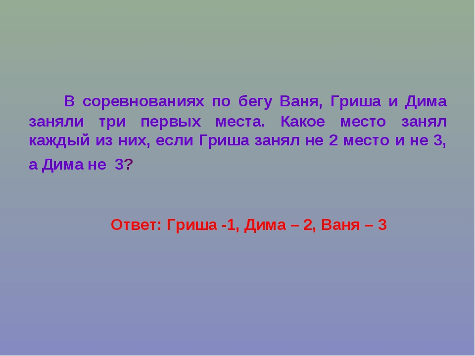 Ответ: Гриша -1, Дима – 2, Ваня – 3 В соревнованиях по бегу Ваня, Гриша и Дим...