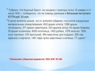 * Пензенские губернские ведомости. 1904. №№ 181,184 Рубрика «На Красный Крест