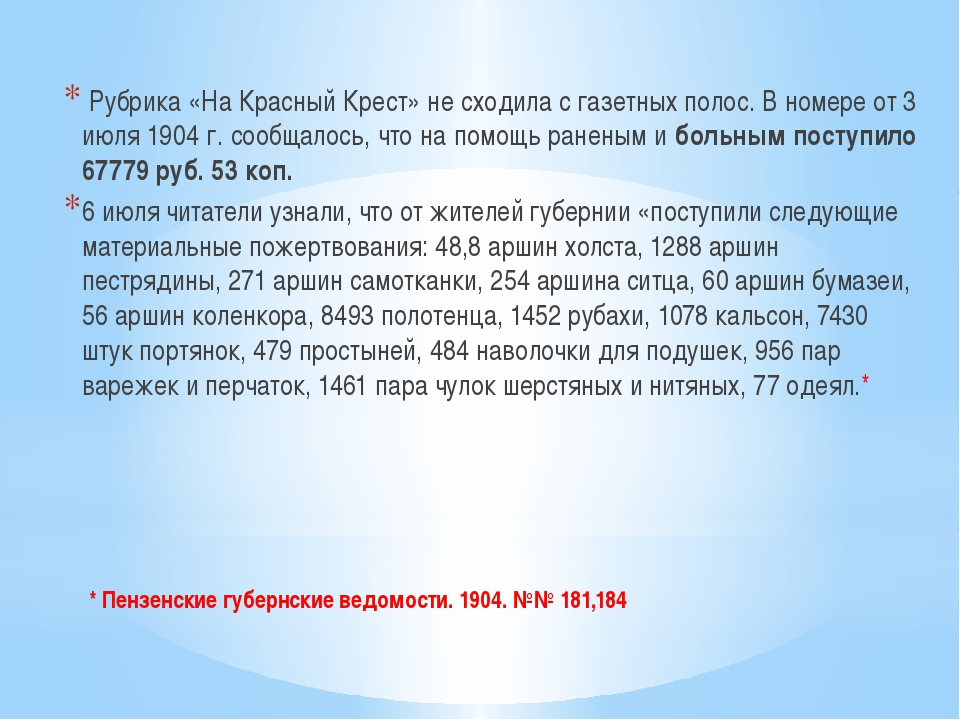 * Пензенские губернские ведомости. 1904. №№ 181,184 Рубрика «На Красный Крест...
