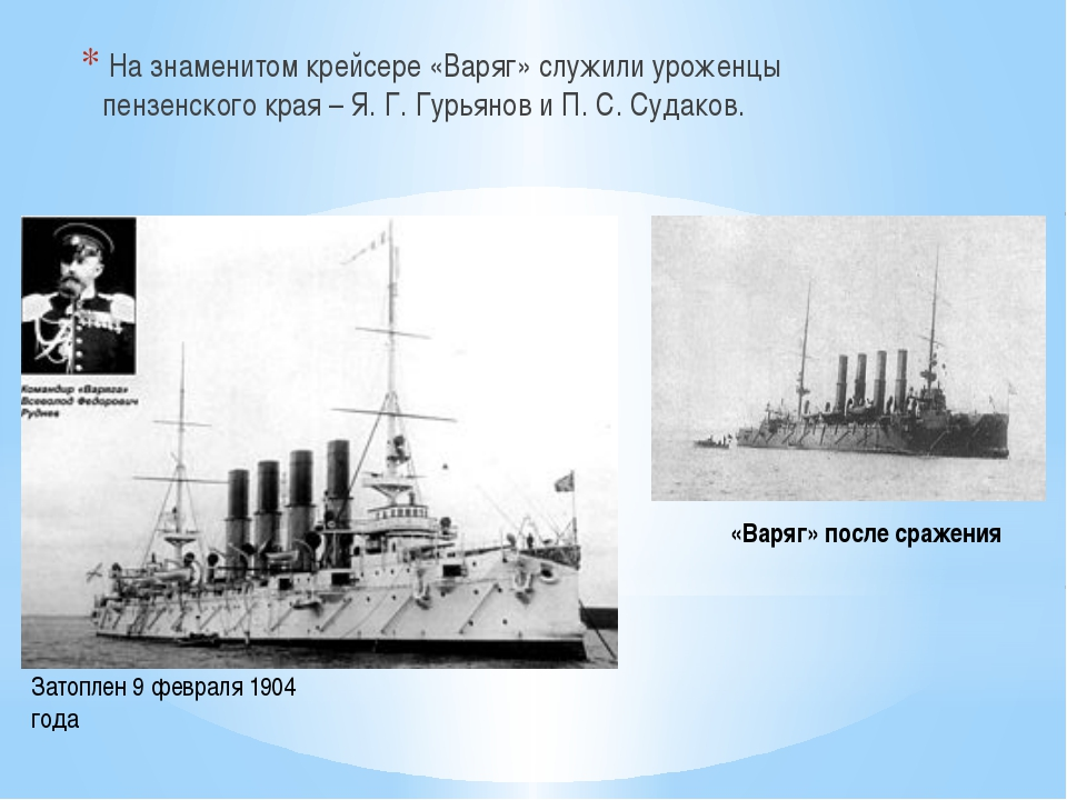 «Варяг» после сражения На знаменитом крейсере «Варяг» служили уроженцы пензен...