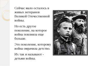 Сейчас мало осталось в живых ветеранов Великой Отечественной войны. Но есть д