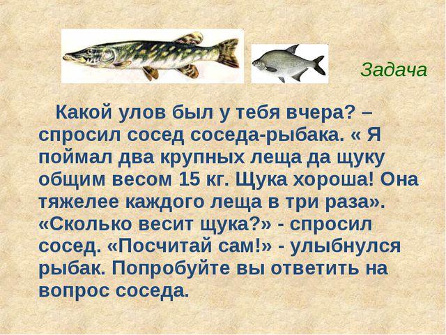 Какой улов был у тебя вчера? – спросил сосед соседа-рыбака. « Я поймал два кр...