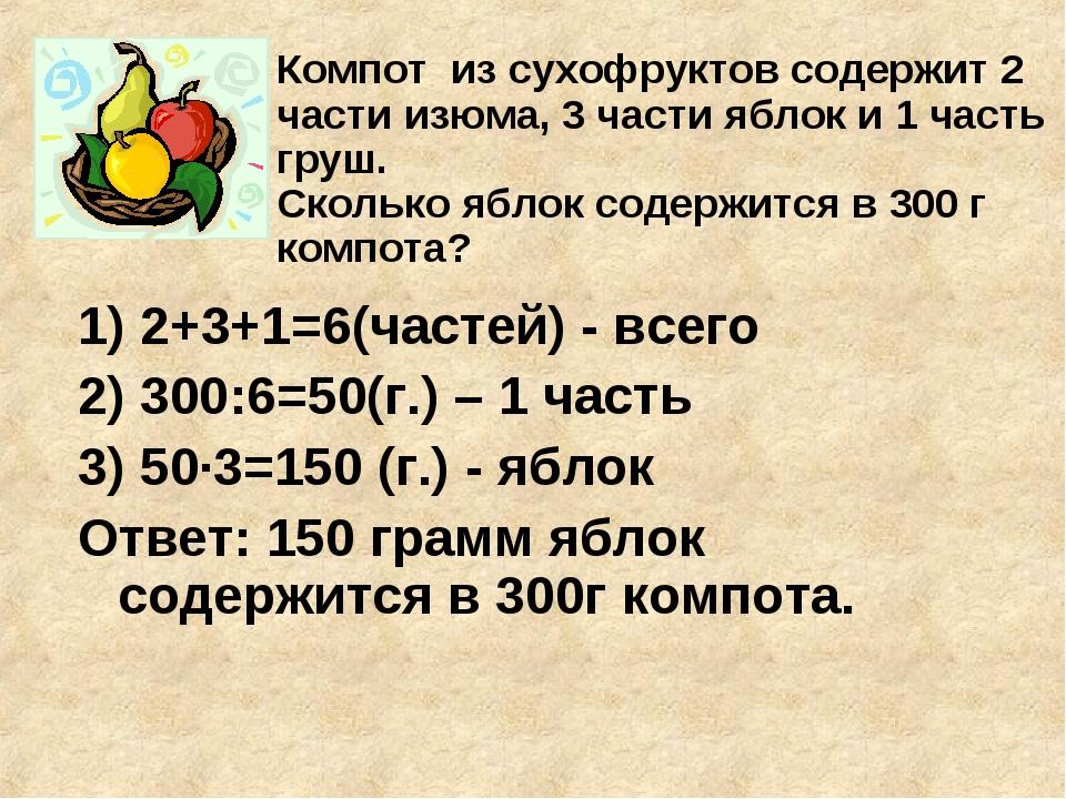 1) 2+3+1=6(частей) - всего 2) 300:6=50(г.) – 1 часть 3) 50·3=150 (г.) - яблок...