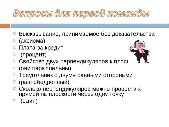 Высказывание, принимаемое без доказательства (аксиома) Плата за кредит (проце...