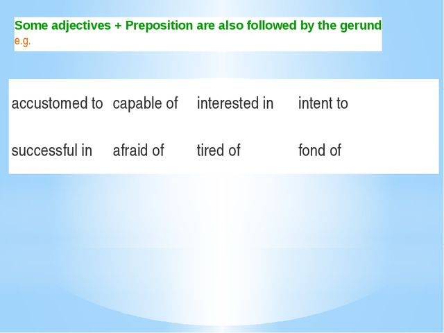 Some adjectives + Preposition are also followed by the gerund e.g. accustomed...