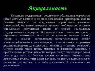 Актуальность Концепция модернизации российского образования определила новую