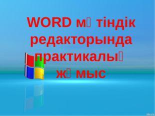 WORD мәтіндік редакторында практикалық жұмыс