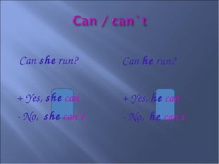 Can she run? + Yes, she can - No, she can`t Can he run? + Yes, he can - No,