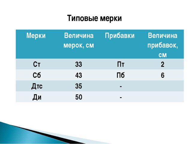 Типовые мерки Мерки Величина мерок, смПрибавки Величина прибавок, см Ст33...