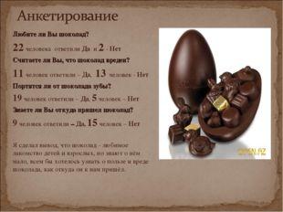 Любите ли Вы шоколад? 22 человека ответили Да и 2 - Нет Считаете ли Вы, что ш