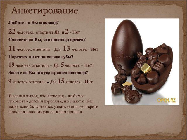 Любите ли Вы шоколад? 22 человека ответили Да и 2 - Нет Считаете ли Вы, что ш...