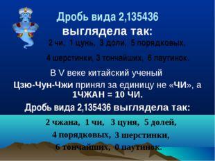 Дробь вида 2,135436 выглядела так: 2 чи, 1 цунь, 3 доли, 5 порядковых, 4 шерс