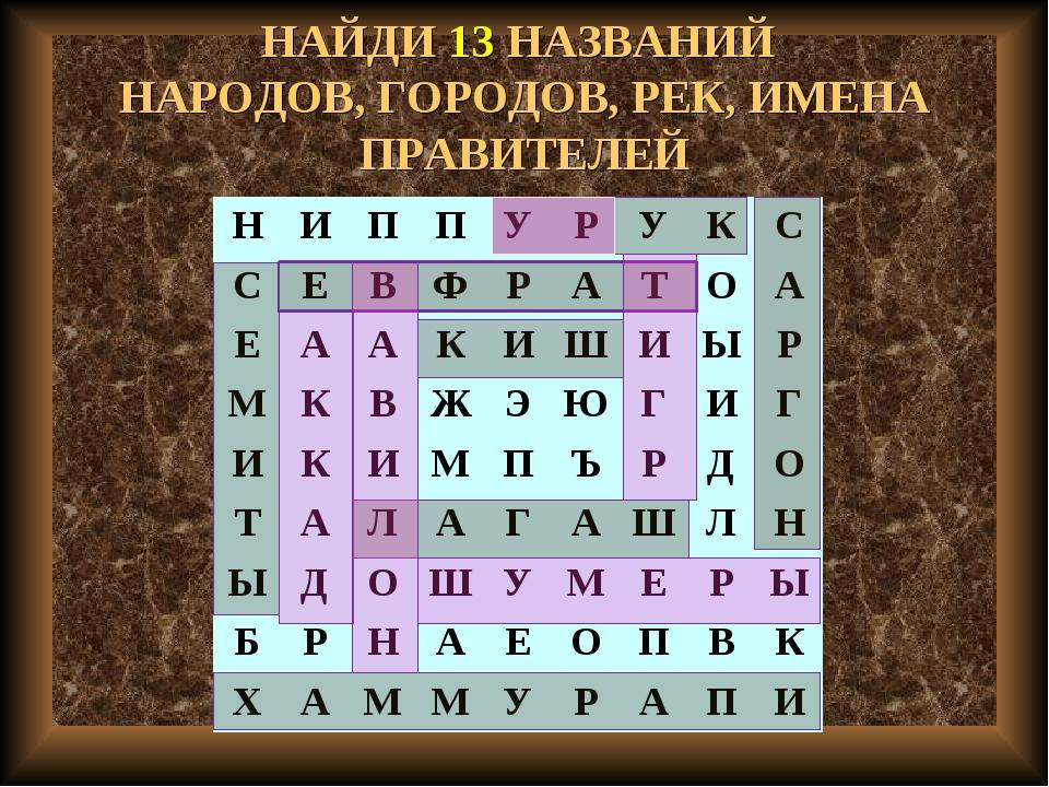 НАЙДИ 13 НАЗВАНИЙ НАРОДОВ, ГОРОДОВ, РЕК, ИМЕНА ПРАВИТЕЛЕЙ НИППУРУКС С...