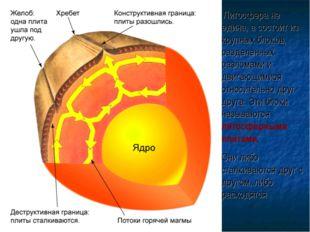 Литосфера не едина, а состоит из крупных блоков, разделенных разломами и дви