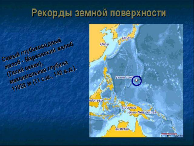 Рекорды земной поверхности Самый глубоководный желоб - Марианский желоб (Тихи...