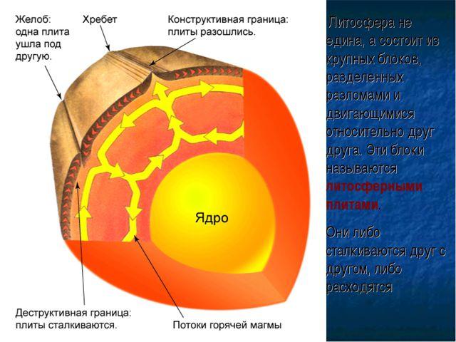 Литосфера не едина, а состоит из крупных блоков, разделенных разломами и дви...