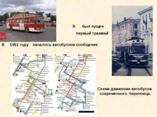 В был пущен первый трамвай В 1951 году началось автобусное сообщение Схема дв