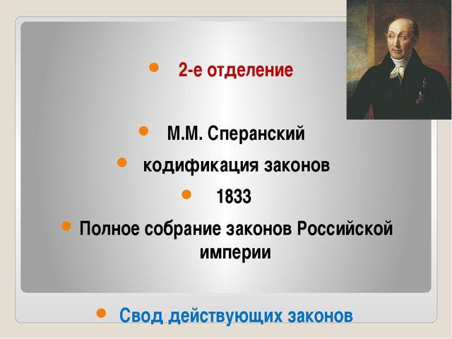 2-е отделение М.М. Сперанский кодификация законов 1833 Полное собрание закон...