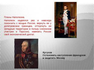 Планы Наполеона. Наполеон надеялся раз и навсегда покончить с мощью России, в