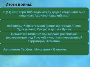 Итоги войны: 2 (14) сентября 1829 года между двумя сторонами был подписан Ад