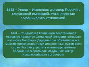 1833 – Ункяр – Искелеси: договор России с Османской империей. Установление со