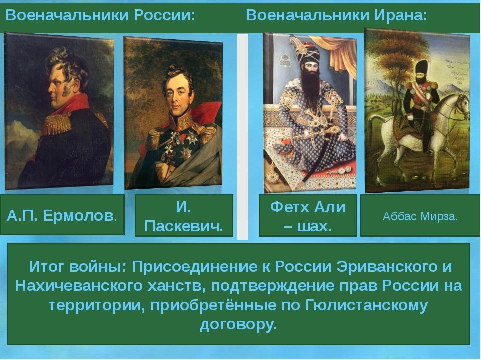 Итог войны: Присоединение к России Эриванского и Нахичеванского ханств, подт...