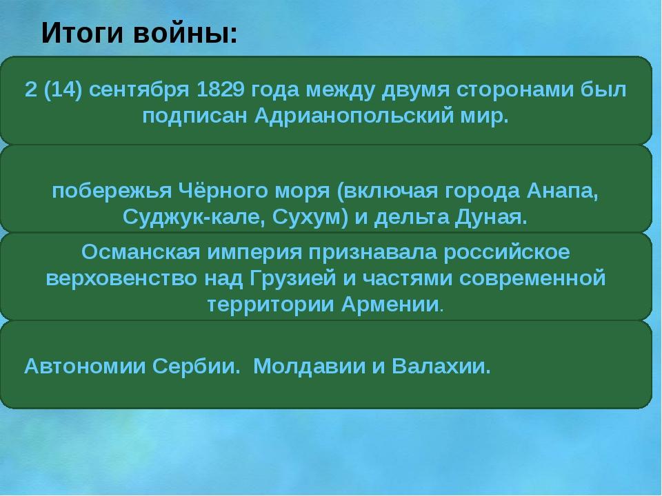 Итоги войны: 2 (14) сентября 1829 года между двумя сторонами был подписан Ад...