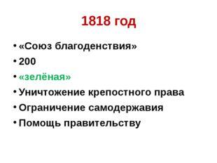 1818 год «Союз благоденствия» 200 «зелёная» Уничтожение крепостного права Огр