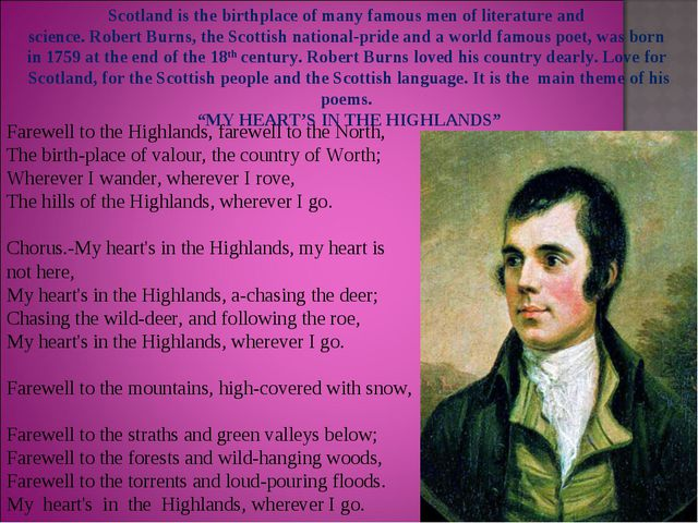 Farewell to the Highlands, farewell to the North, The birth-place of valour,...