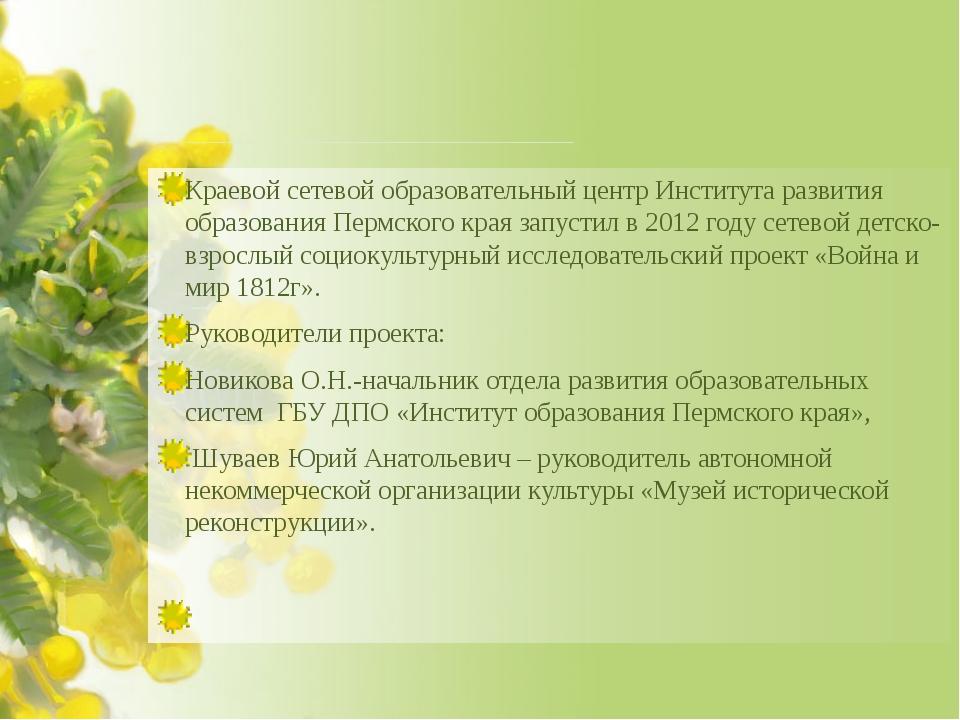 Краевой сетевой образовательный центр Института развития образования Пермско...